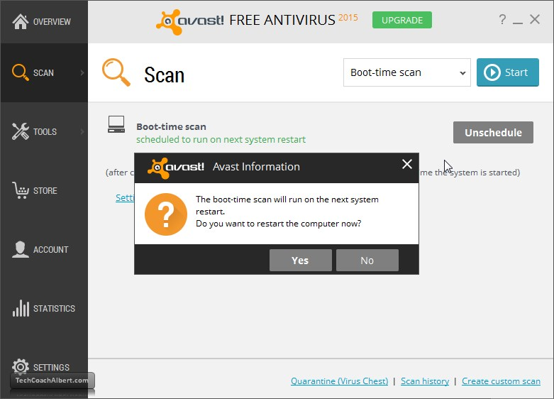 avast view scheduled scans